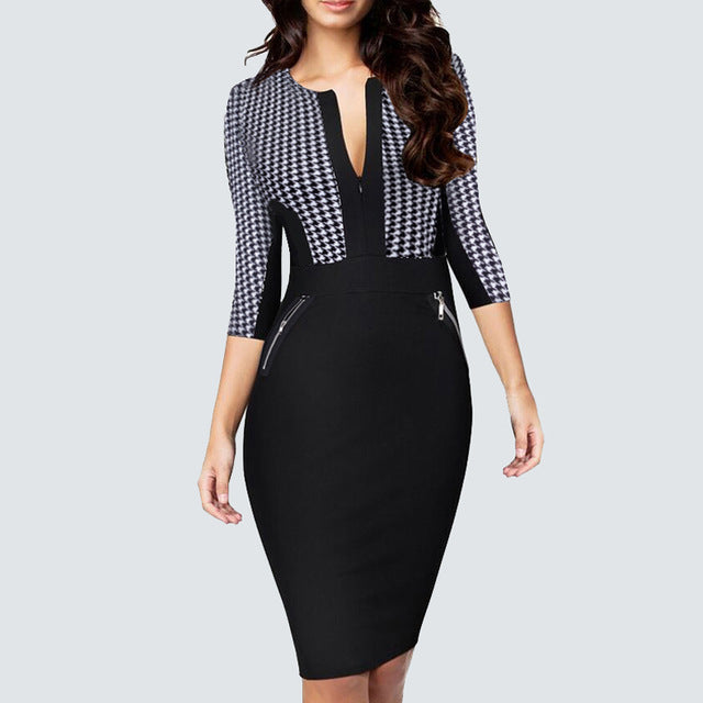 ... Plus Size Women Autumn Work Office Business Colorblock Pencil Dress  Casual Front Zipper Patchwork Sheath Bodycon ... 8c45a1cfb914