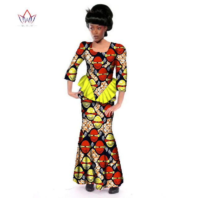 African Traditional Skirt Sets For Women African Dashiki Skirt Blouse 3 Piece Of Cotton Wax Clothing Plus Size Wy152