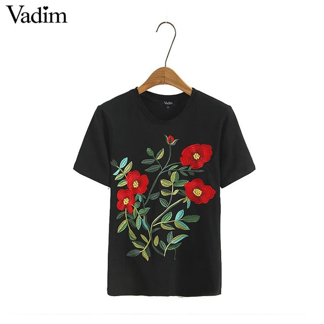 3d078335 Hover to zoom. PrevNext. Image of Vadim women sweet floral embroidery T  shirt ...