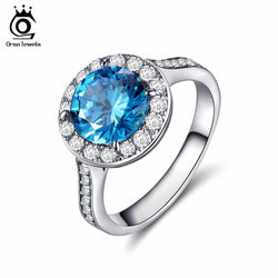 ORSA JEWELS New Fashion Women Silver Color Rings with Big Size Charm Blue AAA Austrian Cubic Zirconia 2017 Rings Jewelry OR134