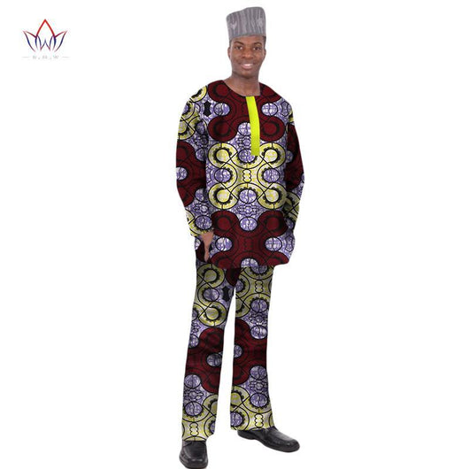 2017 BRW New Fashions Dashiki Men Tops Set Brand Clothing 6XL Mens Shirt and Trousers Two Pieces Set Mens African Clothing WYN12