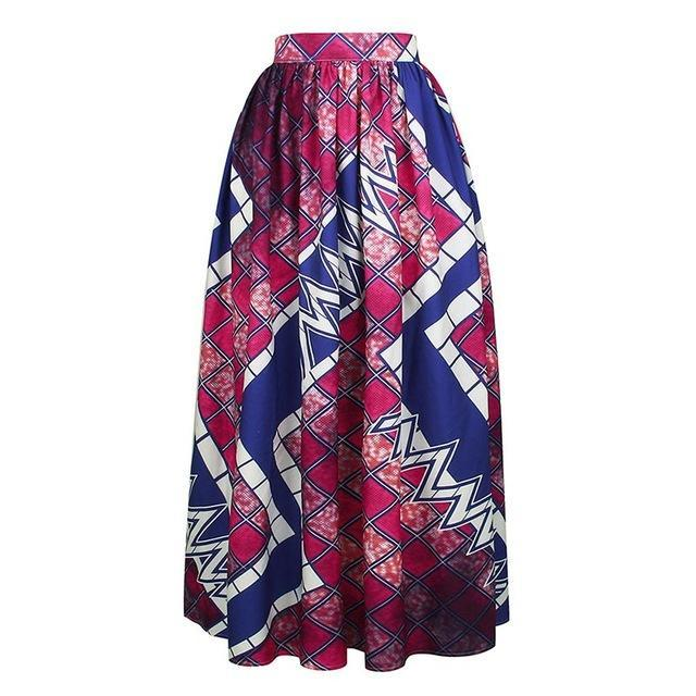 2017 Women's African Floral Print Maxi Skirts Loose Waisted Beach Causal Long Skirts Floor Length With Pocket S-2XL