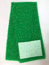 High Quality 5 Yards African lace fabrics, high quality Green cord lace,guipure lace fabric beaded lace