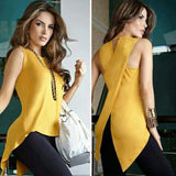 Women Sleeveless Ladies Casual Blouse Shirts Solid O-Neck Clothing Top - Owame
