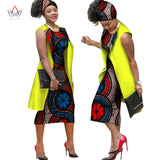 African Print Dashiki Dress with Long Coat Sleeveless Waistcoat Jacket,Short dress and Headwrap