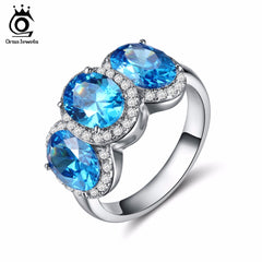 ORSA JEWELS Women Silver Color Rings with 3 Pecs Big Size Charm Blue Cubic Zirconia Fashion Rings Jewelry for Girlfriend OR136