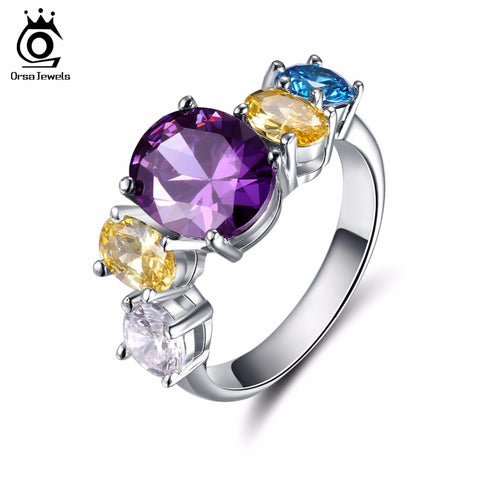 ORSA JEWELS 2017 Fashion Flower Party Rings with 5 Pieces Multicolour AAA Austrian Cubic Zircon for Women Ring Wholesale OR137