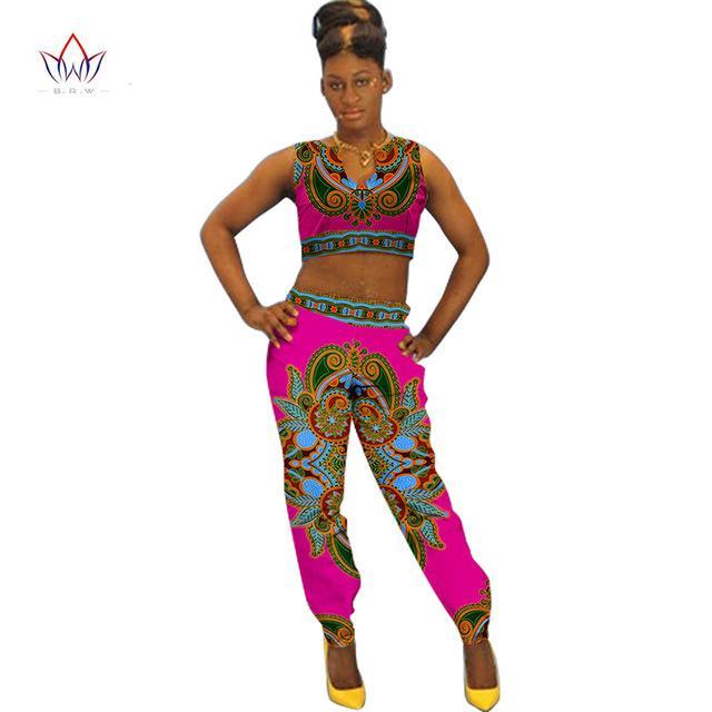 2017 African Print Cotton Suit Woman Plus Size 2 Pieces short Top and Pants Set African Traditional Dashiki Clothing BRW WY770