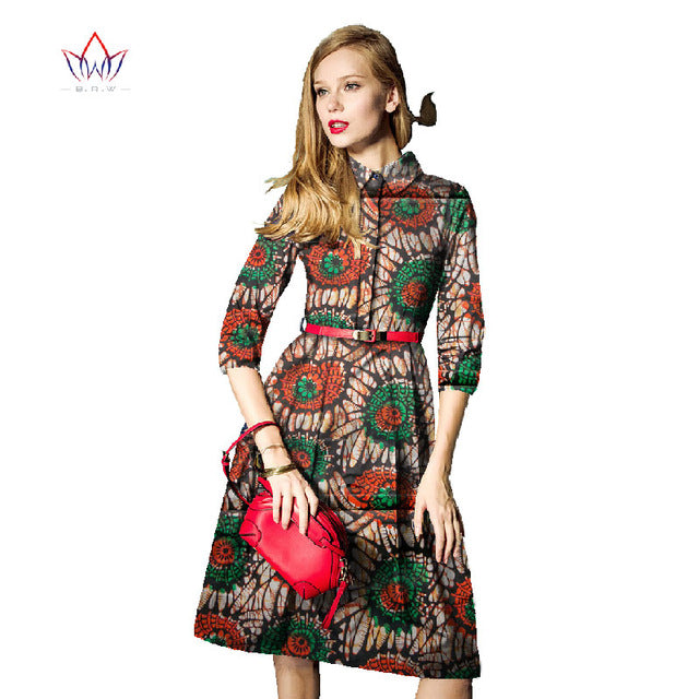 Fashion Women Dresses Spring African Print Dresses Three Quaiter Sleeve  Party Dress Plus Size 6xl African Clothing Office WY004