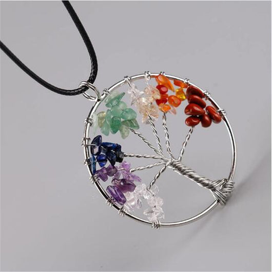 Women 7 Color Chakra Pendants Necklace,Tree Of Life Quartz Chips Pendant Necklace, Multicolor Wisdom Tree Natural Stone Necklaces-890-0w