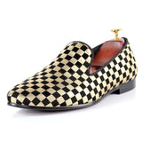 Men Woven Flat white and black cube design Shoes-890-0w