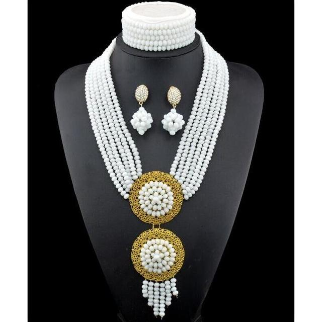 2016 NEW Nigerian Wedding African Beads Rushed Classic Women Crystal Jewelry Sets New Arrived Nigeria Set Necklace Africa Beads