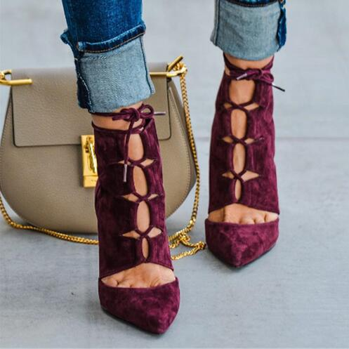 81d6e30f773 Fashion Wine Red Suede Lace Up Women Ankle Boots Pointed Toe Ankle Booties  High Heel Strappy ...