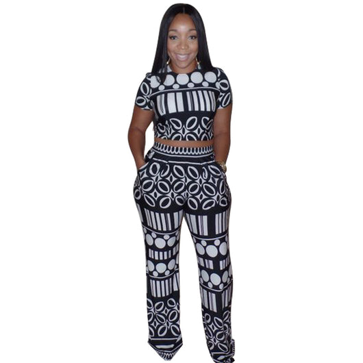 Crop Top 2 Piece Wide Leg Jumpsuit Summer Women Short Sleeve Geometric Print Pockets Long Rompers Vintage Hollow Out Overalls 0wz11