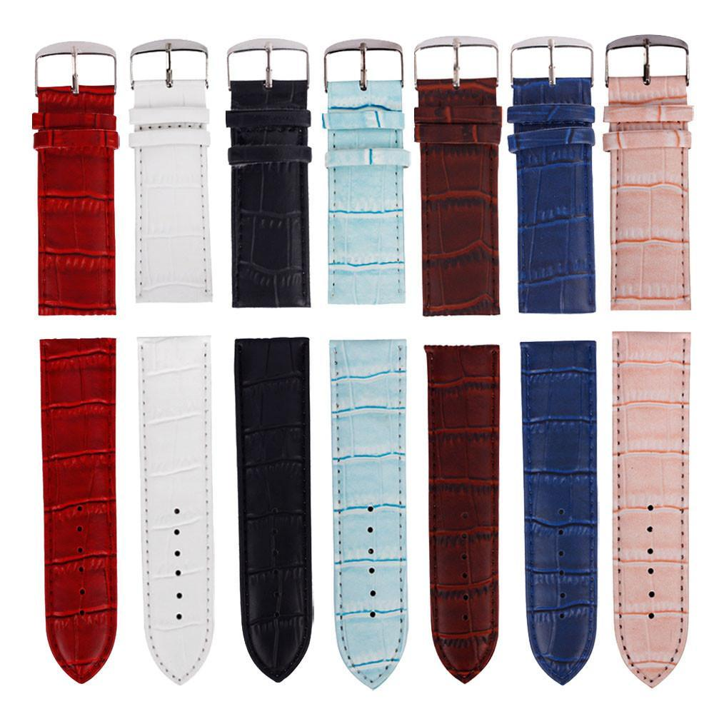 14,16,24,26mm Good Quality Soft Faux Leather Watch Strap 24mm Buckle Wrist Watch Band For Women Men Multiple color selection &20