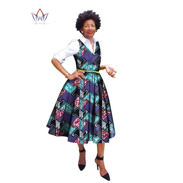 2017 Dress African Bazin Riche Fabric Dresses Plus Size Cotton Dress Africa Style Wax Print 2 Piece Dashiki Dress+Shirt WY835