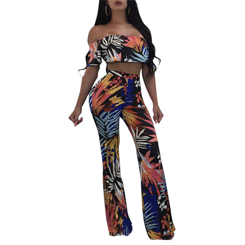 34bc81edf906e5 Summer Crop Tops and Pants Women 2 Piece Set Fashion Floral Print Sexy  Strapless T- ...