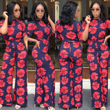 Beautiful Women Navy Blue Red Floral Print  Short Sleeve Loose Boot Cut Long Pants