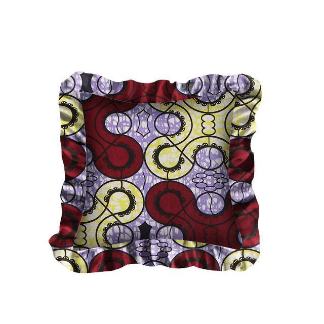 Latest Design Pillow Cases 18x18 inches 100% Cotton African Wax Fabric Lace Edge Ruffle Square Pillowcases WYS20