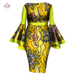 African Women Dress Lady Print Wax Dresses Bazin Africa Sexy sleeves Dress