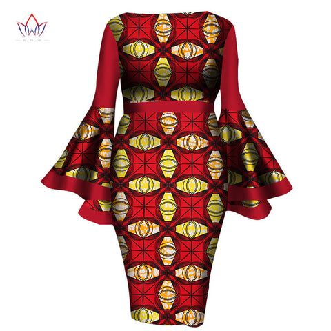 African Women Dress Lady Print Wax Dresses Bazin Africa Sexy sleeves Dress - Owame