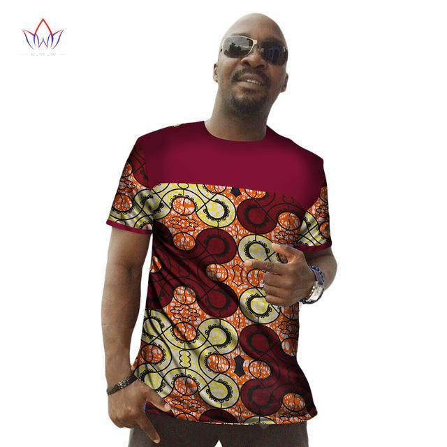2017 Traditional African Wax T-shirt Men Short Sleeve Print Dashiki Men Shirts Available Plus Size African Clothes 6XL BRW WYN30