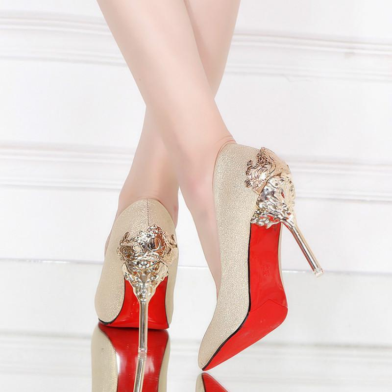 2017 Spring Autumn Shoes Woman Thin High Heels Pumps Red Sexy Black Gold Silver Luxury Metal Design Wedding Party Dress Shoes