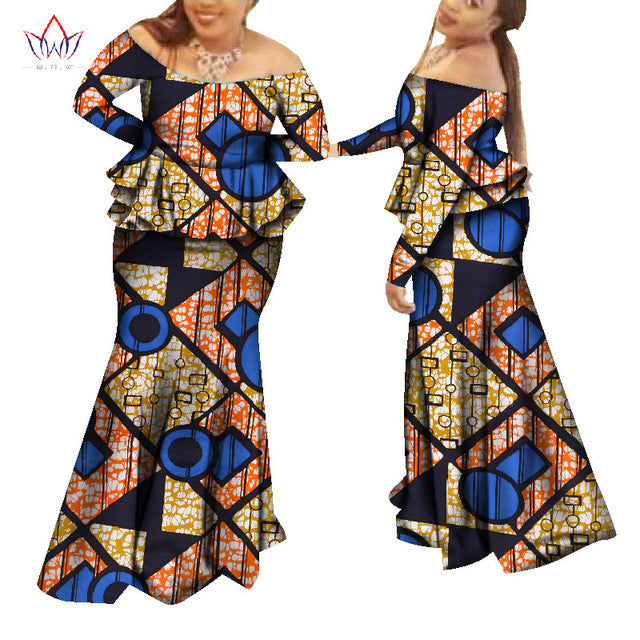 African Custom Traditional Skirt and top Set Plus Size for Women - Owame