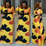 Colorful Maxi Plus Size Backless Long Dress - Owame