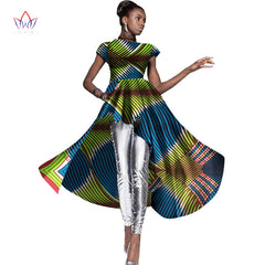 BRW New Fashions African Print Dresses Short Sleeve Asymmetric Women Dress  Bazin Riche Dashiki Africa Print ... 03e716b8c202
