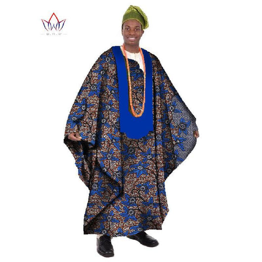 2017 African Print Wax Tailored Long Men Loose Plus Size Robe Dashiki Clothing Traditional African Mens O-neck Clothing Without hat