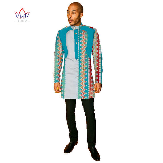 African Clothes for Men African Print Long Sleeve Mens Shirts Dashiki for Men Slim Fit Shirt Men Casual Style 6XL BRW WYN260