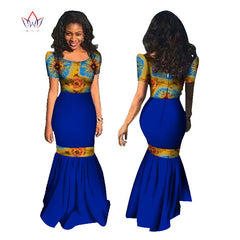 BRW African Dresses Summer Women Mermaid Dress Long Dress Maxi Dress Bazin  Riche African Print Clothing ... 84167d046c2e