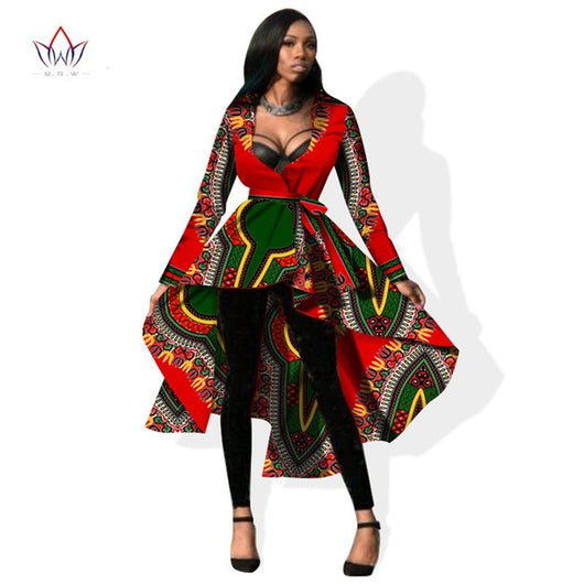 African Trench Long Sleeve Maxi Outwear Trench Dashikis Coat Sizes M-6XL
