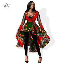 African Dashiki Ankara Trench Long Sleeve Maxi Outwear Trench Coat Dress Sizes M-6XL