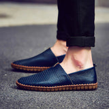 Genuine leather Men's Loafers 2017 Fashion Handmade Moccasins Cow Leather Flats Slip On Men's Boat Shoes Plue Size 38-47-0WMQ89
