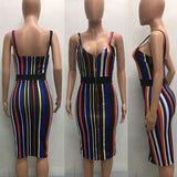 Women's Spaghetti Strap Zipper Design Rainbow Stripes Bandage Bodycon Slim Dresses - Owame