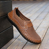 Big Size 46 Summer Breathable Mesh Loafers Men Casual Shoes Genuine Leather Slip On Brand Fashion Flat Shoes Soft Comfort Cool Shoes-0WMQ89