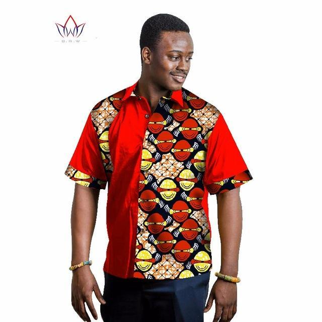 2017 Mens African Clothing Men Half Sleeve t-Shirts Men Dashiki for Men Shirts Slim Fit Brand Clothing 6XL BRW WYN208