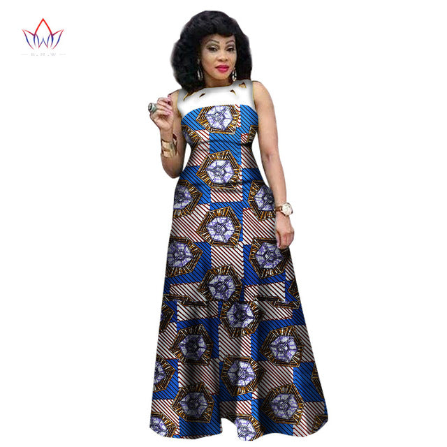 African Dresses for Women, African Print Clothing, Ankara Long Dress Plus Size - Owame