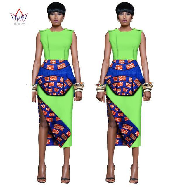 2017 African Clthing for Women Two Piece Set Women Sleeveless Crops Tops & Long Skirt Traditional African Clothing WY1317