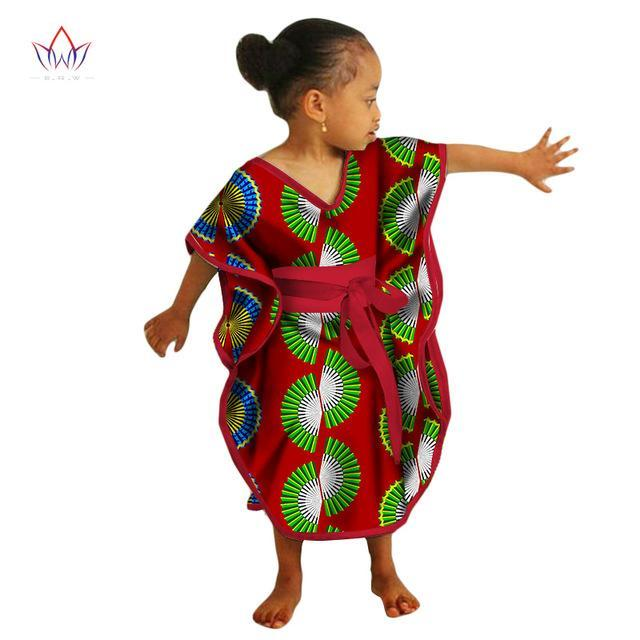 2017 African Kids Dresses African Dashiki Print Cotton Wax Matching Dresses Africa Children Summer Plus Size Clothing WYT69