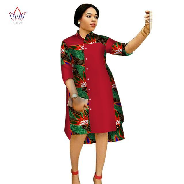 2017 Women Maxi Dress African Print Dresses for Women Three-Quter Sleeve Dress Women Print Clothing Plus Size 6XL BRW WY1756