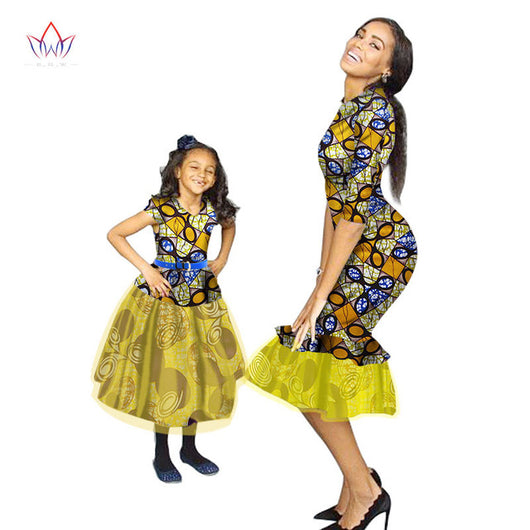 Cute Mother and Daughter Ankara Matching Dress,Ankara Matching Family african clothing for Mother and Daughter - Owame