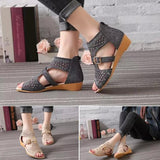 Hollow Out Roman Sandals Back Zipper ,open Toe Sandals - Owame
