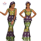 summer African Clothing For Women Two Piece Set  Top and Skirt Set Africa Print Dashiki O-Neck Plus Size set sleeveless WY1067