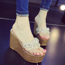 Women transparent crystal flip flops women gold/silver glitter high heels platform sandals women clear wedges shoes-0wSm12