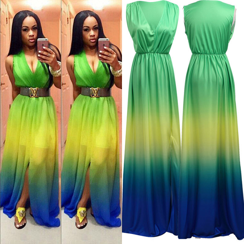 Sleeveless Boho Long Maxi Multicolor Sundress - Owame