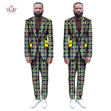 (Jackets+Pants) 2017 New African Print Men Suits Slim Custom Fit Fashion Business Dress Wedding Suits Blazer Plus Size WYN255