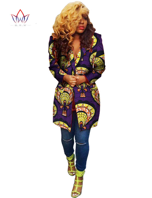 African Women Coat Dashiki Traditional blouse Long Sleeve Blazers - Owame